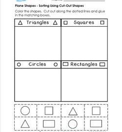 Plane Shapes Worksheets - Kindergarten Shapes