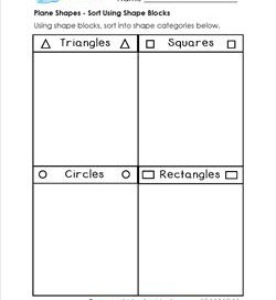 Plane Shapes - Sort Using Shape Blocks