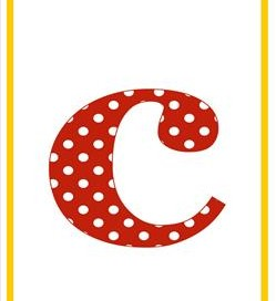 polka dot letters - lowercase c