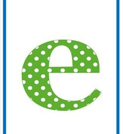 polka dot letters - lowercase e
