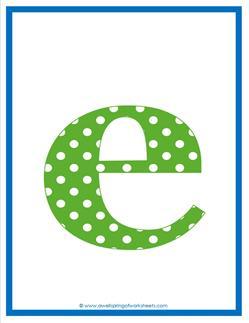 polka dot letters - lowercase e