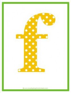 polka dot letters - lowercase f