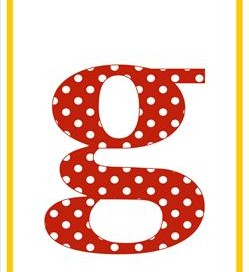 polka dot letters - lowercase g