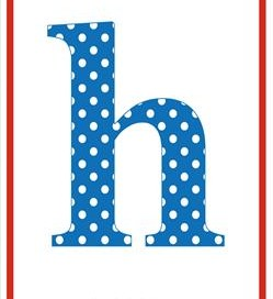 polka dot letters - lowercase h