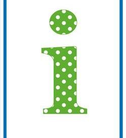 polka dot letters - lowercase i