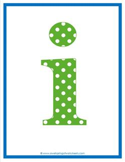 polka dot letters - lowercase i