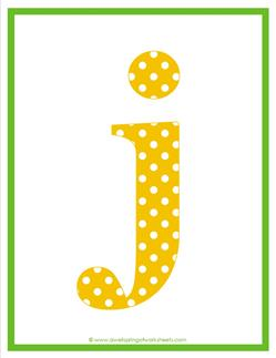 polka dot letters - lowercase j