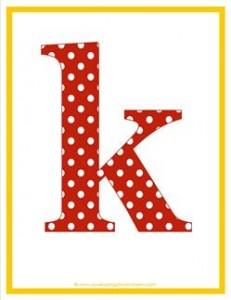 polka dot letters - lowercase k