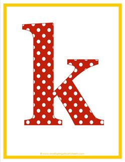 polka dot letters - lowercase k