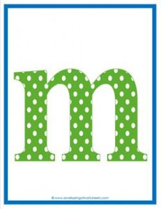 polka dot letters - lowercase m