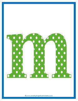 polka dot letters - lowercase m