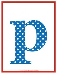 polka dot letters - lowercase p