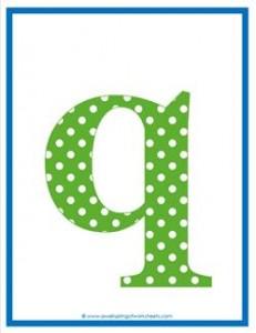 polka dot letters - lowercase q