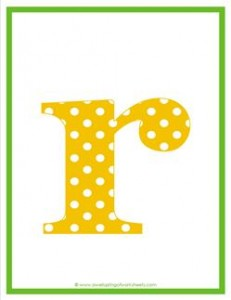 polka dot letters - lowercase r