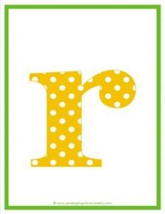 polka dot letters - lowercase r