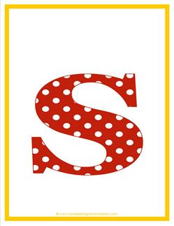 polka dot letters - lowercase s