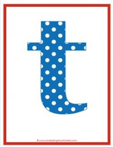 polka dot letters - lowercase t