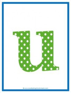 polka dot letters - lowercase u