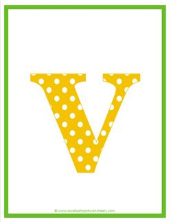 polka dot letters - lowercase v