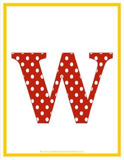 polka dot letters - lowercase w