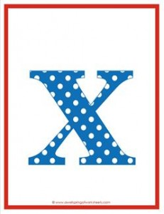 polka dot letters - lowercase x