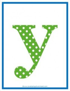 polka dot letters - lowercase y