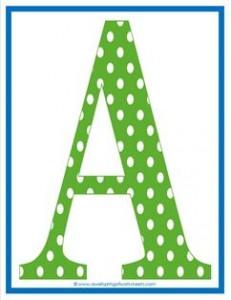 polka dot letters uppercase a