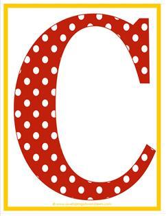 polka dot letters - uppercase c