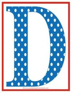 polka dot letters - uppercase d