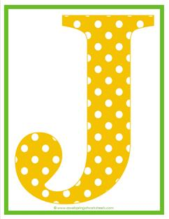 polka dot letters - uppercase j