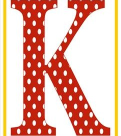 polka dot letters - uppercase k