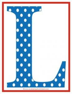 polka dot letters - uppercase l