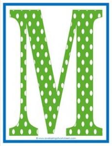 polka dot letters - uppercase m