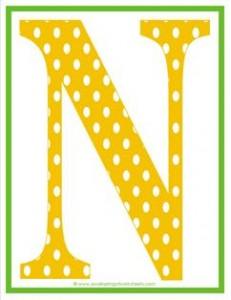 polka dot letters - uppercase n