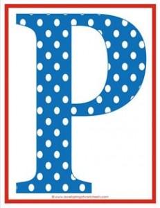 polka dot letters - uppercase p