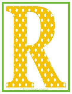 polka dot letters - uppercase r