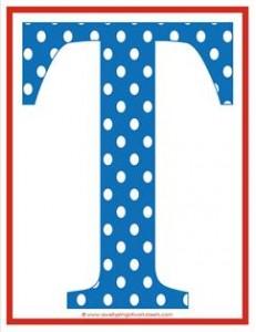 polka dot letters - uppercase t
