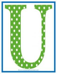 polka dot letters - uppercase u