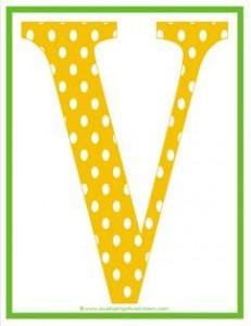 polka dot letters - uppercase v