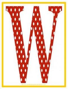 polka dot letters - uppercase w