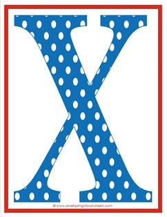 polka dot letters - uppercase x
