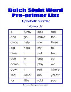 pre-primer dolch word list - alphabetical order