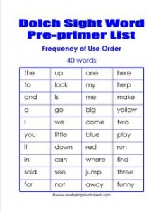 preprimer dolch word list frequency order