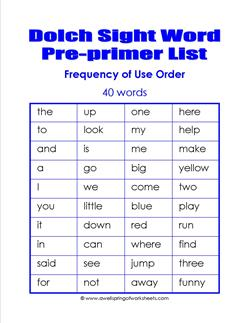 pre=primer dolch word list - frequency order