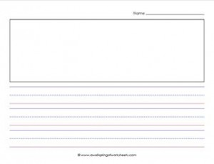 priamry lined paper - landscape - 7/8 inch - name & picture
