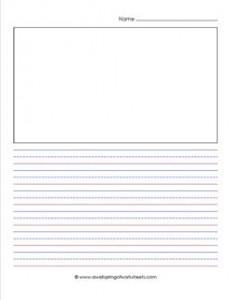 """primary lined paper - portrait - 1/2"""" - name and picture"""