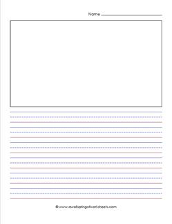 "primary lined paper - portrait - 1/2"" - name and picture"