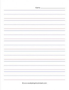 primary lined paper - portrait - 1 inch - name