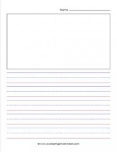 """primary lined paper - portrait - 3/4"""" - name - picture"""