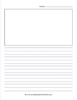 "primary lined paper - portrait - 3/4"" - name - picture"